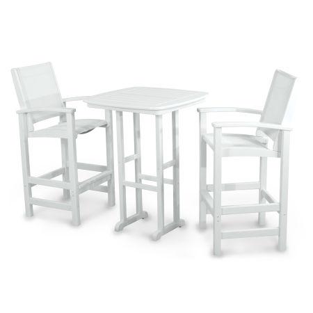 Coastal 3-Piece Bar Set in White / White Sling