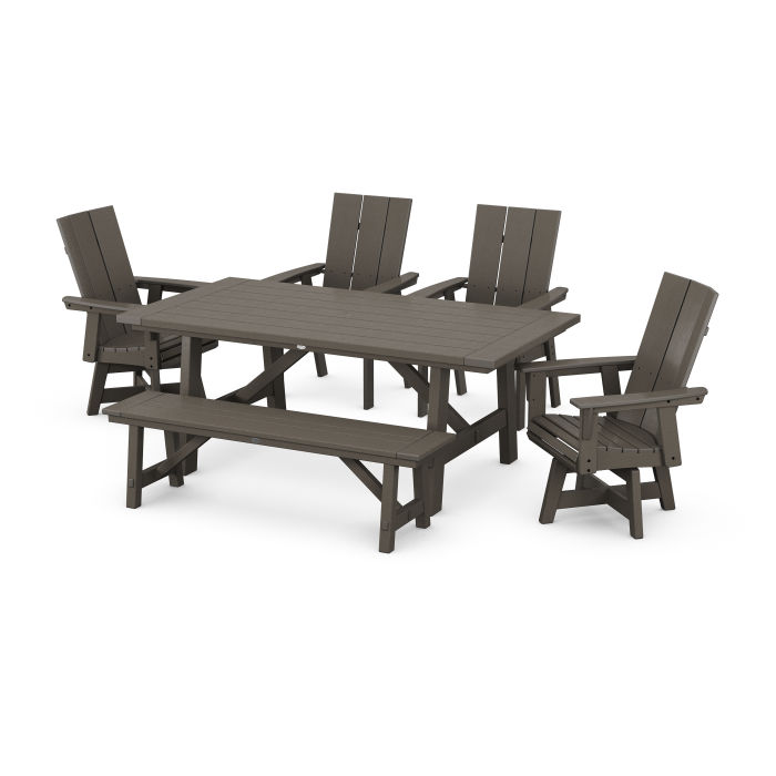 Modern Curveback Adirondack 6-Piece Rustic Farmhouse Swivel Dining Set with Bench in Vintage Finish