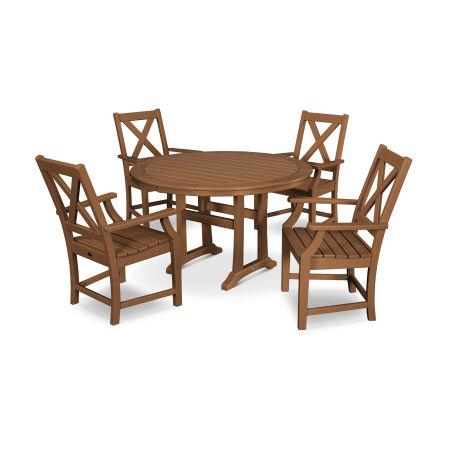 Braxton 5-Piece Nautical Trestle Arm Chair Dining Set in Teak