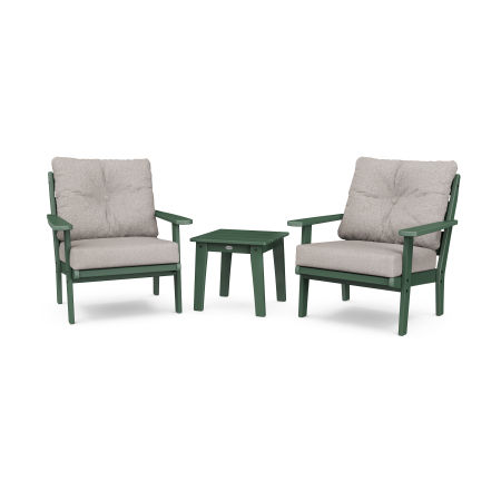 Lakeside 3-Piece Deep Seating Chair Set in Green / Weathered Tweed