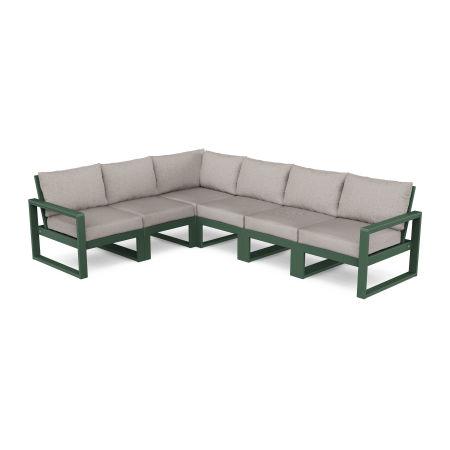 EDGE 6-Piece Modular Deep Seating Set in Green / Weathered Tweed