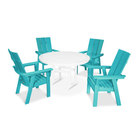 Modern Adirondack 5-Piece Nautical Trestle Dining Set in Aruba / White