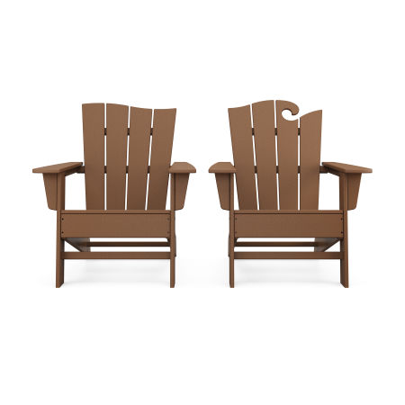 Wave 2-Piece Adirondack Set with The Wave Chair Left in Teak