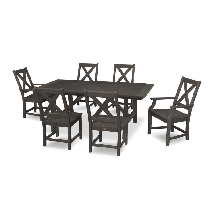 Braxton 7-Piece Rustic Farmhouse Dining Set in Vintage Finish