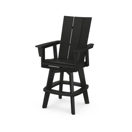 Modern Adirondack Swivel Bar Chair in Black