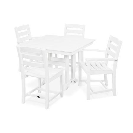 La Casa Café 5-Piece Farmhouse Trestle Dining Set in White