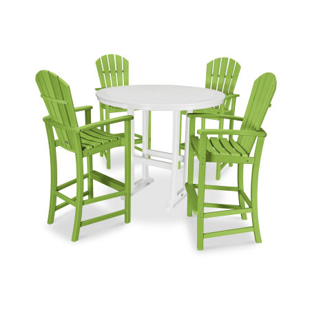 5 Piece Palm Coast Bar Set in Lime / White