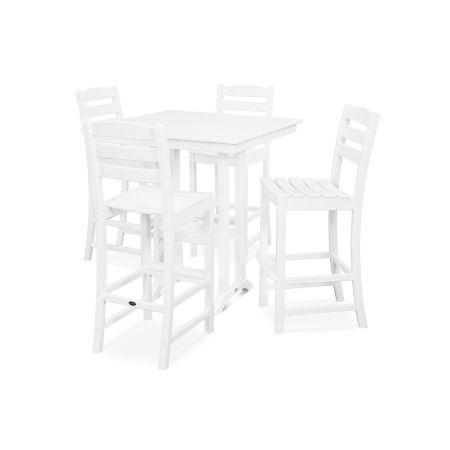 La Casa Café 5-Piece Farmhouse Bar Set in White