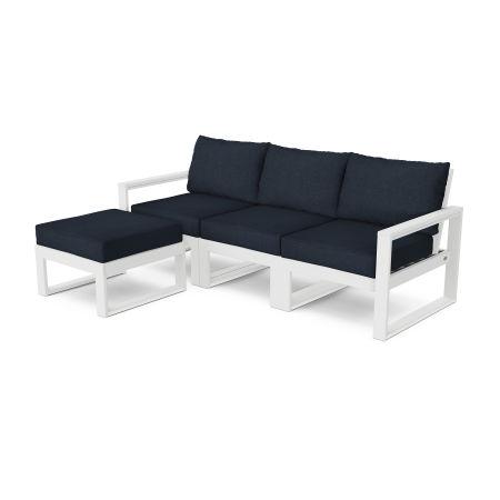 EDGE 4-Piece Modular Deep Seating Set with Ottoman in White / Marine Indigo