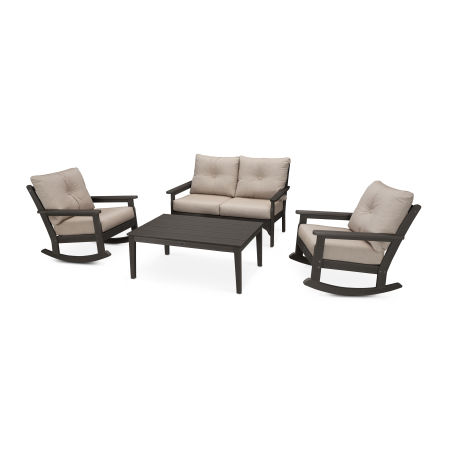 Vineyard 4-Piece Deep Seating Rocking Chair Set in Vintage Coffee / Cast Ash