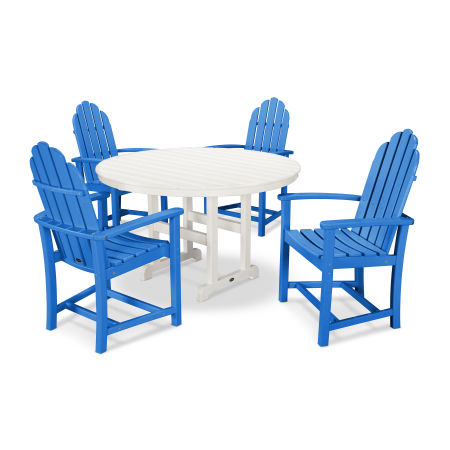 Classic Adirondack Dining 5-Piece Set in Pacific Blue / White