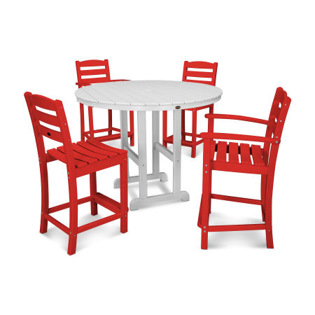 La Casa Café 5-Piece Counter Dining Set in Sunset Red