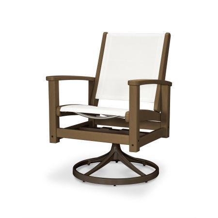 Coastal Swivel Rocking Chair in Textured Bronze / Teak / White Sling