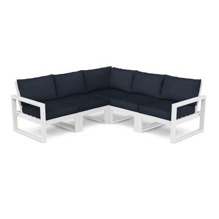 EDGE 5-Piece Modular Deep Seating Set in White / Marine Indigo