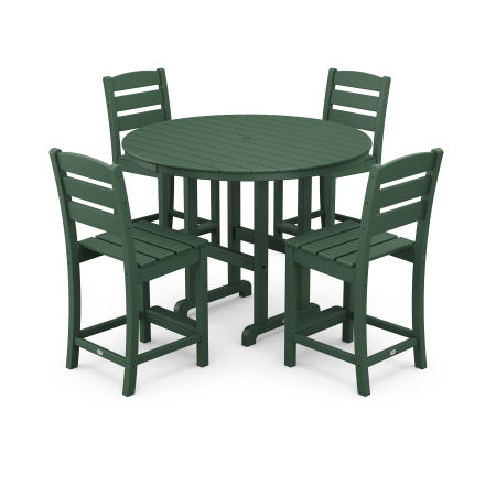 Lakeside 5-Piece Round Counter Side Chair Set in Green
