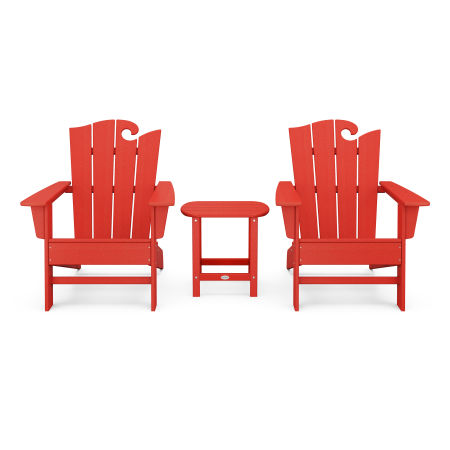 Wave 3-Piece Adirondack Set with The Ocean Chair in Sunset Red