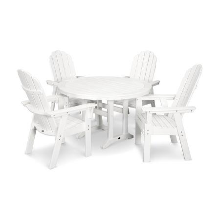 Vineyard Adirondack 5-Piece Nautical Trestle Dining Set in Vintage White