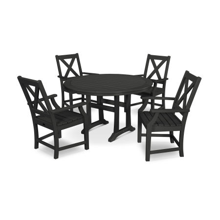 Braxton 5-Piece Nautical Trestle Arm Chair Dining Set in Black