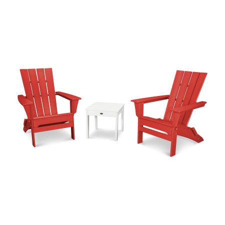 Quattro 3-Piece Adirondack Set in Sunset Red