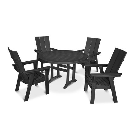 Modern Adirondack 5-Piece Nautical Trestle Dining Set in Black