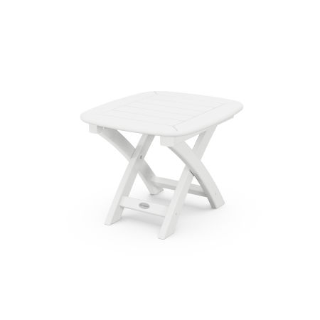 """Nautical 21"""" x 18"""" Side Table in White"""