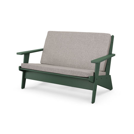 Riviera Modern Lounge Settee in Green / Weathered Tweed