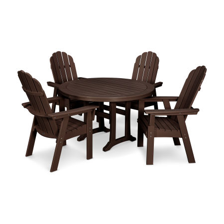 Vineyard Adirondack 5-Piece Nautical Trestle Dining Set in Mahogany