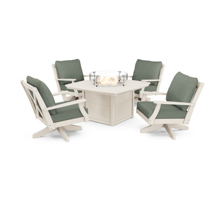 Braxton 5-Piece Deep Seating Swivel Conversation Set with Fire Pit Table in Sand / Cast Sage