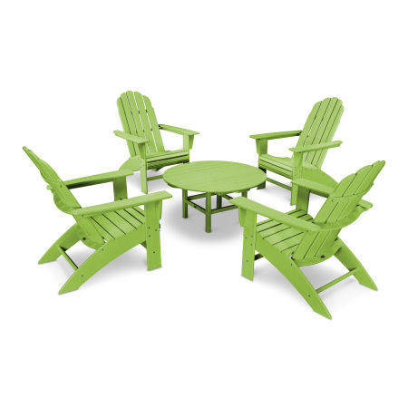 Vineyard 5-Piece Curveback Adirondack Set in Lime