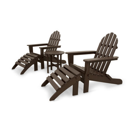 Classics 5-Piece Folding Adirondack and Ottoman Set in Mahogany