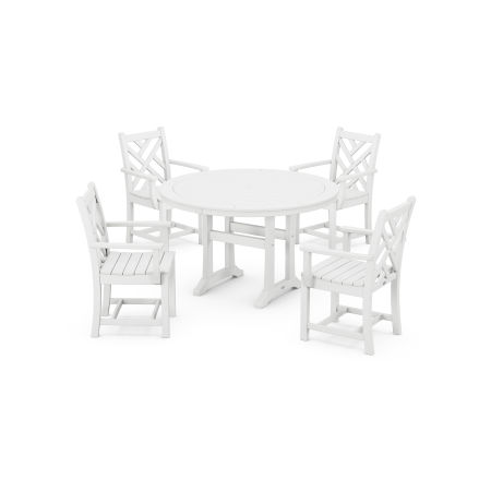 Chippendale 5-Piece Nautical Trestle Dining Arm Chair Set in White