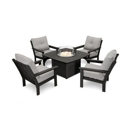 Vineyard 5-Piece Conversation Set with Fire Pit Table in Black / Canvas Granite