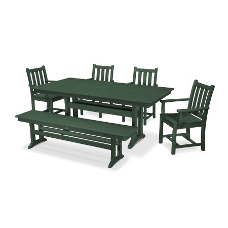 Traditional Garden 6-Piece Farmhouse Dining Set with Bench in Green