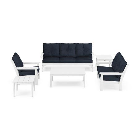 Vineyard 6-Piece Deep Seating Set in White / Marine Indigo