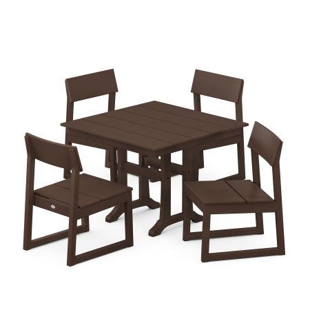 EDGE 5-Piece Farmhouse Trestle Side Chair Dining Set in Mahogany