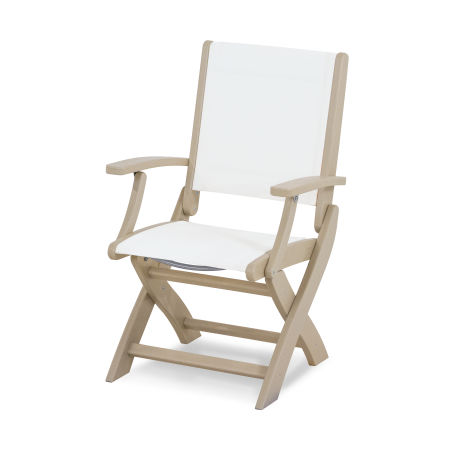 Coastal Folding Chair in Sand / White Sling