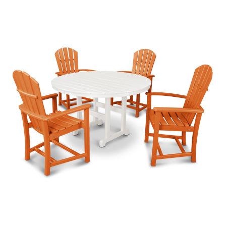 Palm Coast 5-Piece Dining Set in Tangerine / White