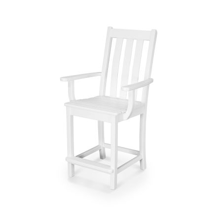 Vineyard Counter Arm Chair in White