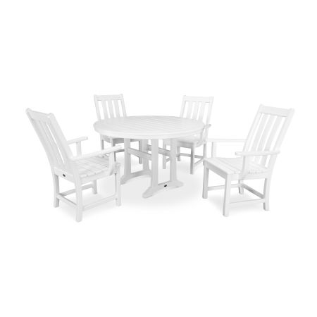 Vineyard 5-Piece Nautical Trestle Dining Set in White