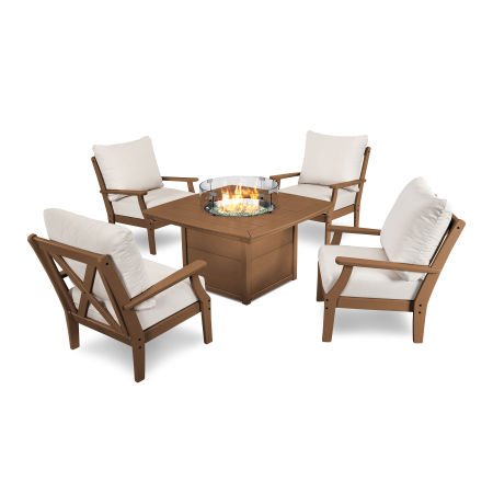 5-Piece Deep Seating Conversation Set with Fire Pit Table in Teak / Antique Beige