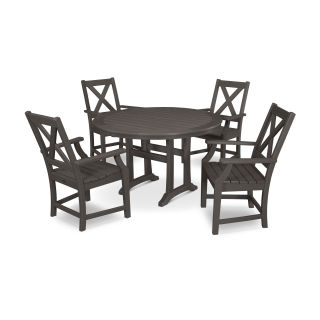 Braxton 5-Piece Nautical Trestle Arm Chair Dining Set in Vintage Finish