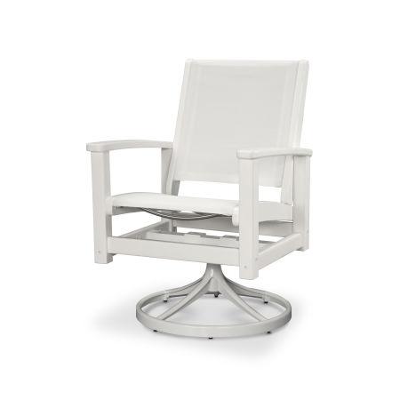 Coastal Swivel Rocking Chair in Satin White / White / White Sling