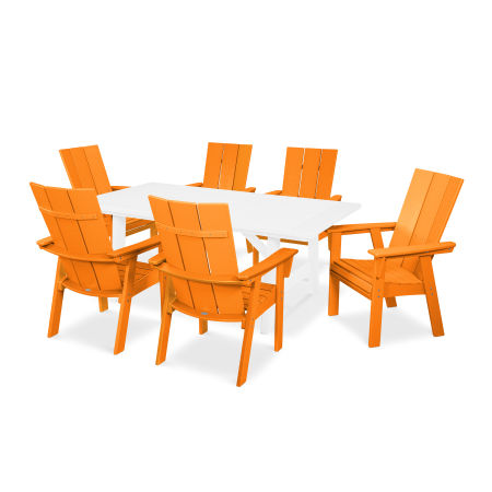 Modern Adirondack 7-Piece Rustic Farmhouse Dining Set in Tangerine / White