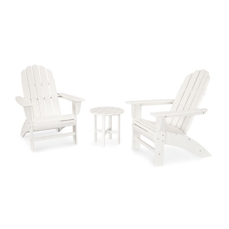 Vineyard 3-Piece Curveback Adirondack Set in White