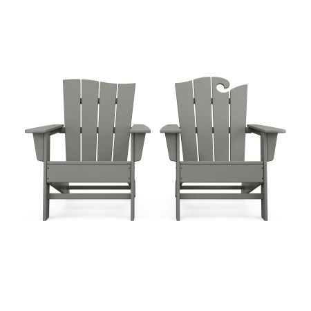 Wave 2-Piece Adirondack Set with The Wave Chair Left in Slate Grey