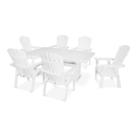 Nautical Adirondack 7-Piece Trestle Dining Set in Vintage White