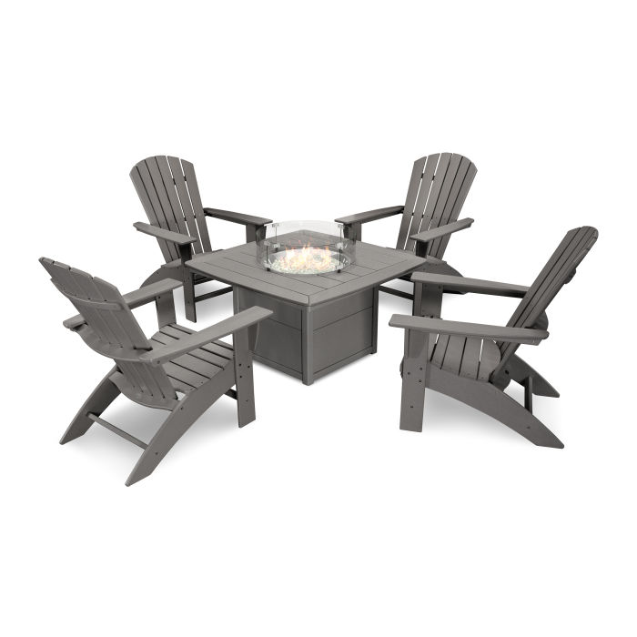 Nautical Curveback Adirondack 5-Piece Conversation Set with Fire Table