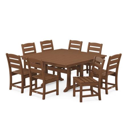 Lakeside 9-Piece Farmhouse Trestle Dining Set in Teak