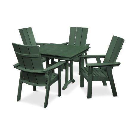 Modern Adirondack 5-Piece Farmhouse Dining Set in Green