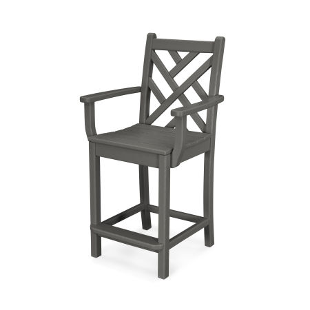 Chippendale Counter Arm Chair in Slate Grey